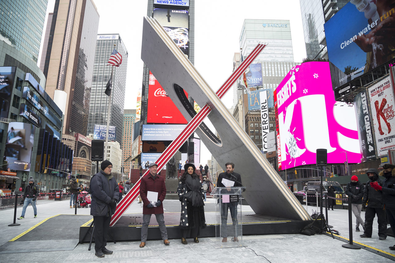 Tom Finkelpearl, Commissioner, NYC Department of Cultural Affairs; Benjamin Prosky, Assoc. AIA, Executive Director, AIANY and Center for Architecture; Suchi Reddy, Founder, Reddymade; and Tim Tompkins, President, Times Square Arts. Image credit: Ka-Man Tse for Times Square Arts.